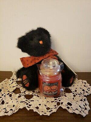 """Yankee Candle Halloween TRICK or TREAT 3.7oz Boyds BEAR BOO 8"""" New With Tags"""