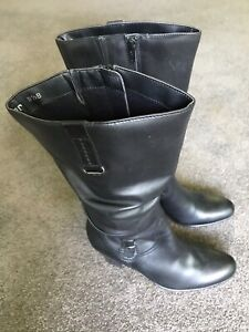 Sandler womens black leather mid calf boots.