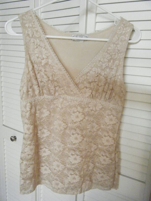 WOMENS PAMELA STEWART SMALL BEIGE LACE TOP V NECK SLEEVELESS