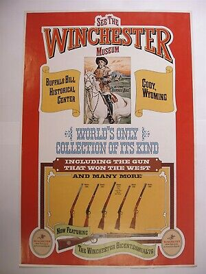 VINTAGE Winchester Museum Buffalo Bill Cody Wyoming Poster Advertising Sign