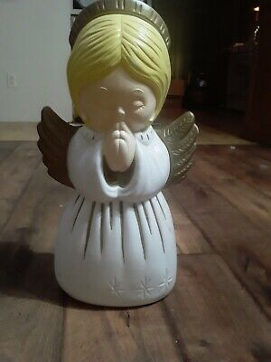 VINTAGE GRAND VENTURE LIGHTED CHRISTMAS PRAYING ANGEL GIRL BLOW MOLD 18''