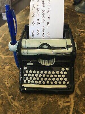 Vintage Ceramic Typewriter Note Pad Pen Holder Euc Beautiful Index Card