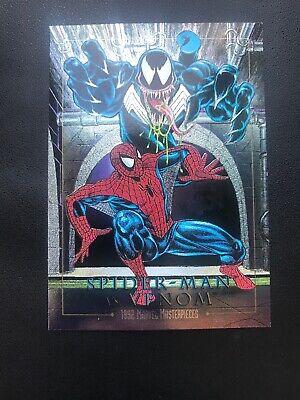 SPIDER-MAN VS. VENOM 4-D MARVEL MASTERPIECES 1992 Etch * Rare Vintage Card *