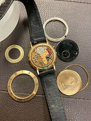 Vintage Gucci Gold Plated Swiss Made Ladies Watch W/ Original Leather Band Parts