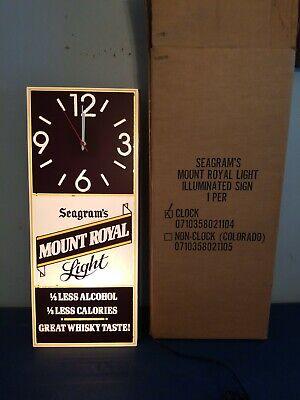 (VTG) seagram's mount royal whisky light up motion blinking clock sign mib