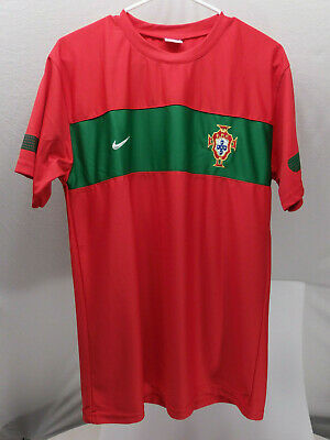 d0a28d92767 VTG NIKE OLD LOGO PORTUGAL FPF RONALDO  7 FOOTBALL RED JERSEY SOCCER SHIRT  SZ L