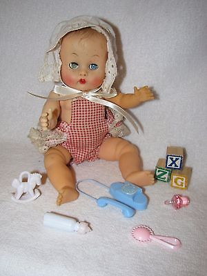 """8"""" Vintage Vogue Molded Hair Ginnette Baby Doll Dressed In Sunsuit With Toys"""