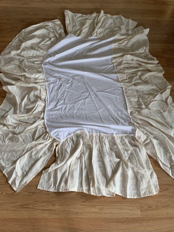"Linen baby Ruffled Crib Bedskirt Dust Ruffle 18""Drop"