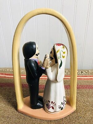 Dia De Los Muertos Day Of Dead Clay Pottery Folk Art Figures. Husband And Wife