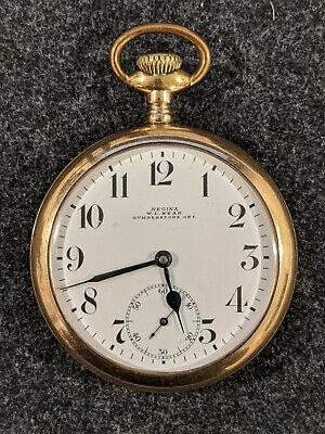 Regina Omega W.L. NEAR HUMBERSTONE ONT. Pocket Watch Gold Filled 7 jewels A.W.C.