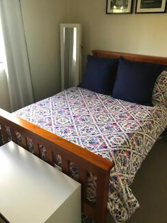 Double Wooden Bed Frame & Mattress
