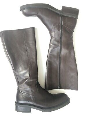 J. Crew Women's Brown Leather Tall Riding Boots Sz 8.5 Made In Italy Zipper
