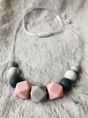 Silicone Teething Necklace Nursing Breastfeeding Sensory BPA Free Pink &