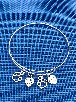 I love my Dog ~ Best Friend & 2 Paws Silver charms Expandable Bangle