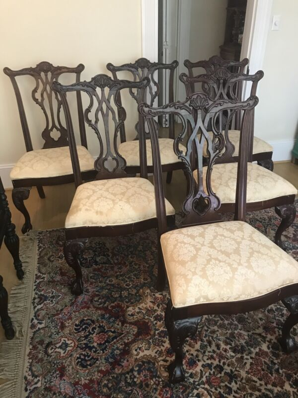Thomasville Dining Room Chairs Mahogany Chippendale Claw Ball And Claw Set Of 6