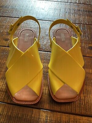 Melissa Yellow Sauce Criss Cross Jelly Sandals Slingback Square US Size 7