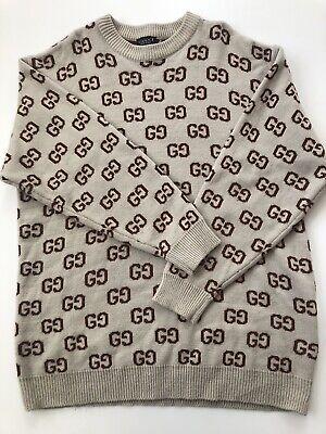 Vintage Gucci Logo Knit Sweater Long sleeve Size XXL 2XL