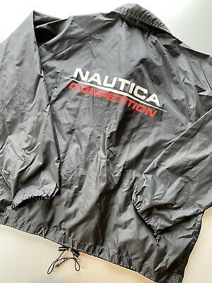 Vintage 90s Nautica Competition Black Spell out Logo Windbreaker Jacket One Size