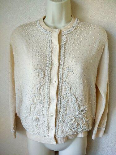 Vtg Moores 100% Pure Cashmere Ivory Beaded Cardigan Womens Sweater Sz 40 DAMAGED