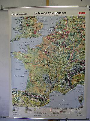Schulwandkarte Beautiful Old Frankreichkarte 98x134c 1991 La France et le