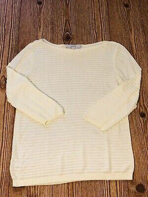 Ann Taylor Loft, Soft Yellow Rib Knit Boatneck Longsleeve Sweater Top Womens Med Rib Knit Boatneck Sweater