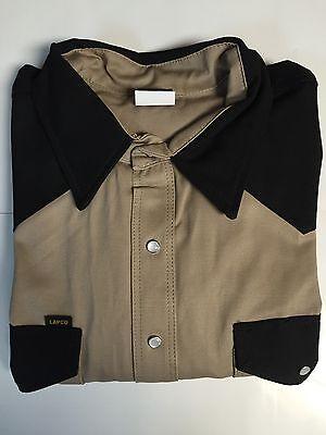Lapco Heavy Duty Khaki Black Work Shirt 16 12 X 34 Large