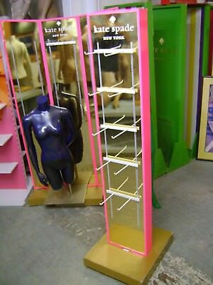 Retail Pink  Gold Kate Spade Display Rack W Peg Hook Merchandiser Unit
