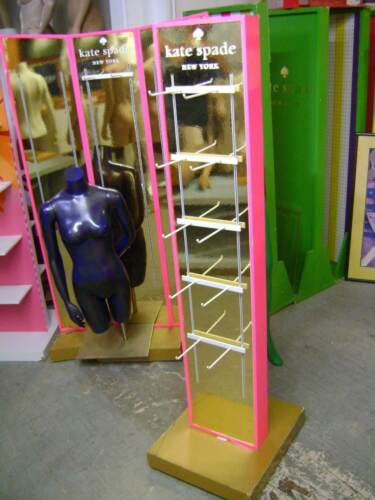 RETAIL PINK  & GOLD KATE SPADE  DISPLAY RACK W/ PEG HOOK  MERCHANDISER UNIT