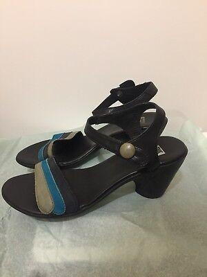 Camper TWS Black Blue Rubber Sole Sandals Heels Size 39 8.5-9