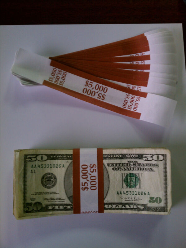 100 - New Self-Sealing Currency Bands - $5000 Denomination - Straps Money Fifty