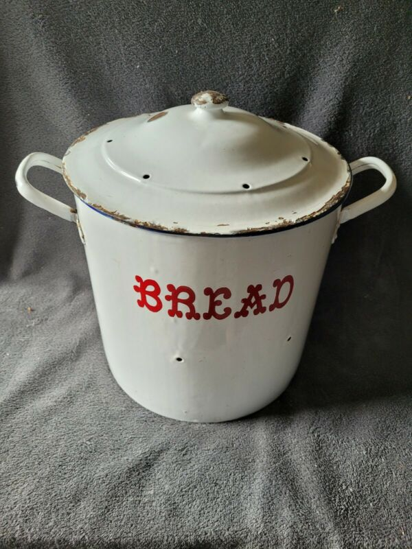 Vintage English? Round Porcelain Enamelware Bread Box W/ Red Lettering