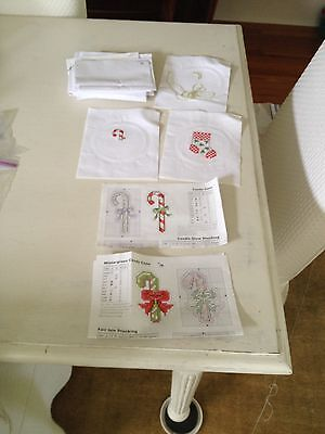 Lot of  Pre Worked Mini Cross Stitch Christmas Stocking Needlepoint Candy Cane
