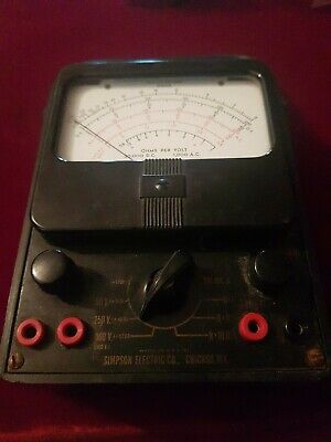 Vintage Simpson Electric Analog Multimeter1000v10a20m Ohms 260-8