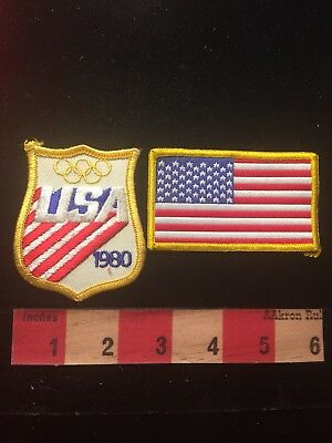 Vtg 1980 OLYMPICS & Flag Themed Jacket Patch - America 81D6 - Olympic Themed Crafts
