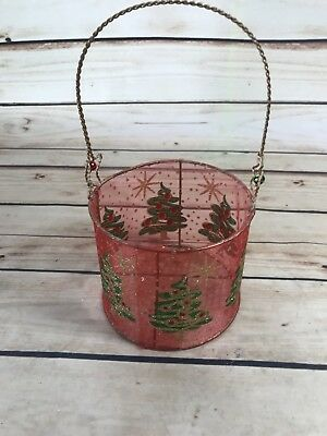 Christmas Tree Gold Tone Sparkle Mesh BASKET Bells Home Decor Red Green Holiday