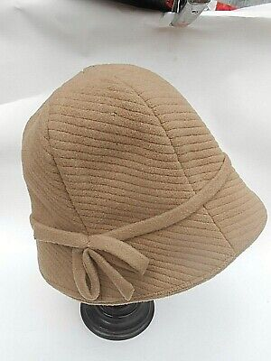 Vintage Ladies BROWN FELT Winter Cloche Bell Bucket Hat with Bow