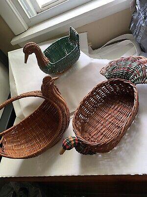 Lot Of 3 Wicker Planters - Chicken-turkey- Duck