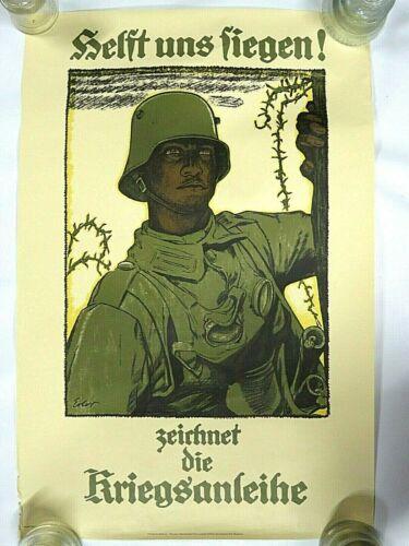 Vintage German War Propaganda Poster Helft Uns Liegen Zeichnet Die Kriegsanleihe