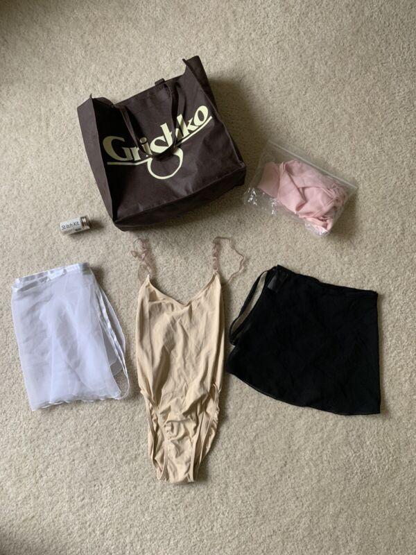 New & Used Ballet Accessories: 3 Skirts, Nude Leotard, StitchKit, Grishko Bag