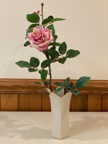 "Vintage Lenox Meridian 8""  Ribbed Ivory Vase w Gold Trim & Artificial Flower"
