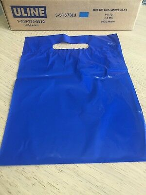 ULINE S-5137BLU Blue Die Cut Handle Bags 9x12