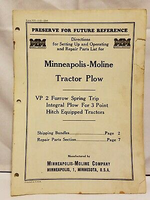 Minneapolis-moline Furrow Spring Trip Tractor Plow Operating Repair Parts List