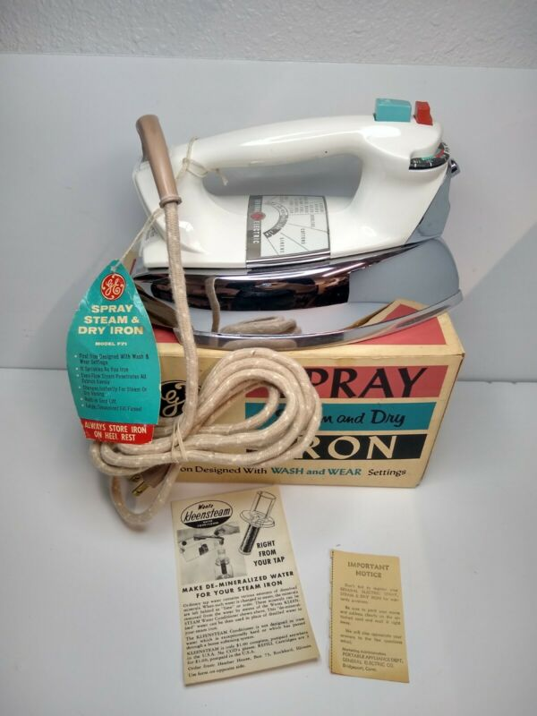 Vintage CIB General Electric Spray Steam Dry Iron Model F71 Clothes Retro Home