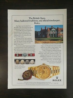 Rolex Oyster Perpetual Day-Date President Bracelet 18k Watch British Open Ad