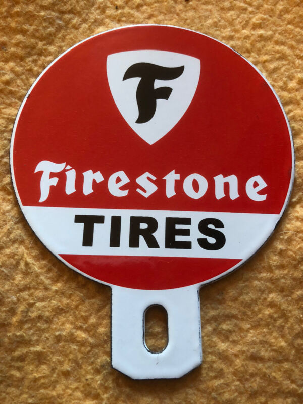 Porcelain Firestone Tires License Plate Topper Gas & Oil Sign Lube Mint