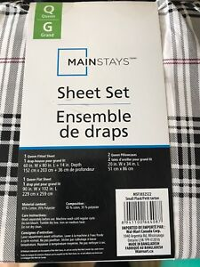 New in package queen size Mainstays sheet set