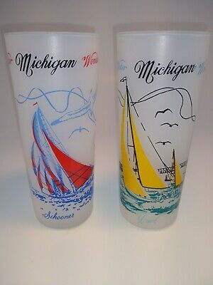 Vintage Retro Water Michigan Wonderland Set Of 2 Frosted White Tumbler Glasses,
