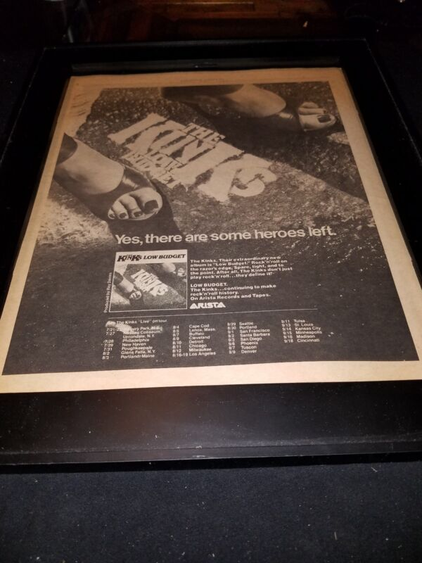 The Kinks Low Budget Tour Rare Original Promo Poster Ad Framed!
