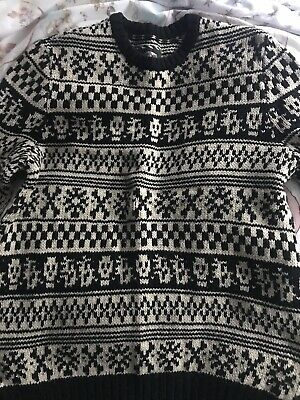 Vans Off The Wall Size S Knitted Skull Jumper Cream And Black