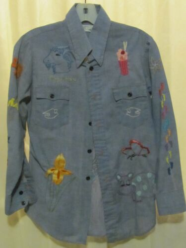 MINT Vintage JC Penny embroidered chambray shirt- tons of embroidery all over!